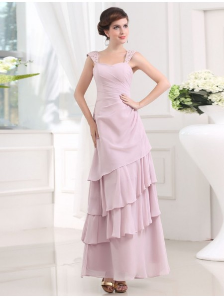 A-Line/Princess Straps Sleeveless Beading,Layers Ankle-Length Chiffon Dresses