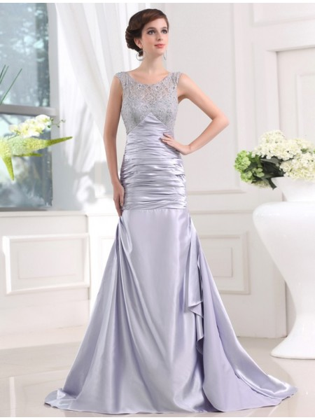 Trumpet/Mermaid Scoop Sleeveless Beading , Sweep/Brush Train Elastic Woven Satin Dresses