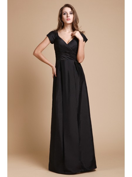 Sheath/Column V-neck Short Sleeves Ruffles Floor-Length Taffeta Dresses