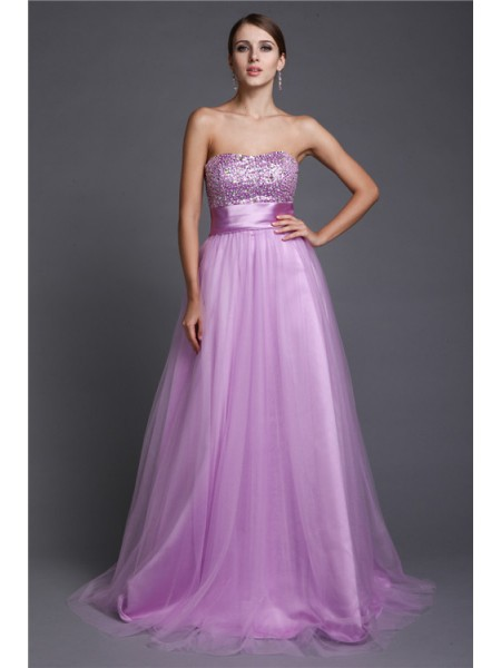 A-Line/Princess Strapless Sleeveless Beading Floor-Length Net Dresses