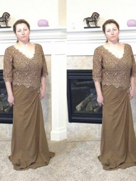 Sheath/Column V-neck 1/2 Sleeves Applique Sweep/Brush Train Chiffon Mother of the Bride Dresses