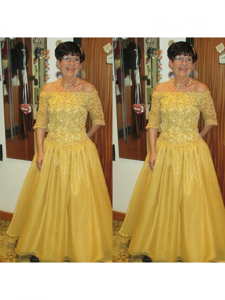 A-Line/Princess Off-the-Shoulder 1/2 Sleeves Beading Floor-Length Tulle Mother of the Bride Dresses