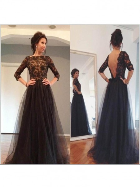 A-Line/Princess Bateau 3/4 Sleeves Sweep/Brush Train Tulle Mother of the Bride Dresses
