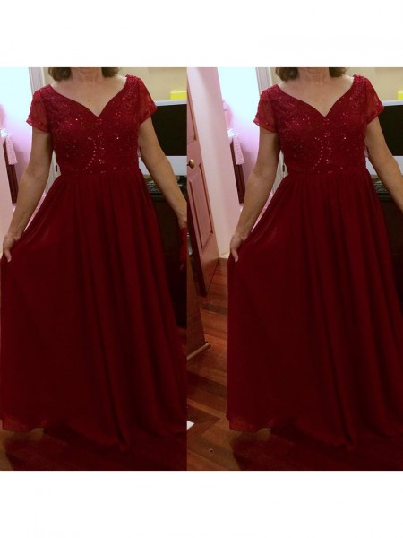 A-Line/Princess V-neck Short Sleeves Beading Floor-Length Chiffon Mother of the Bride Dresses