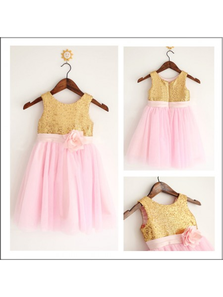 A-Line/Princess Sleeveless Scoop Tulle Tea-Length Sequin Flower Girl Dresses