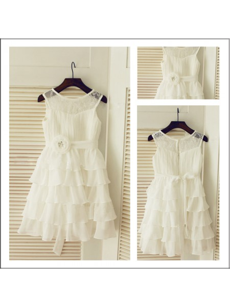 A-Line/Princess Sleeveless Scoop Chiffon Tea-Length Layers Flower Girl Dresses