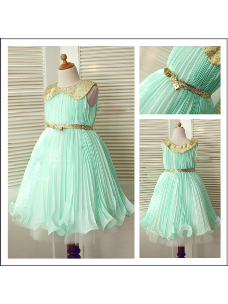 A-Line/Princess Sleeveless Scoop Chiffon Tea-Length Sequin Flower Girl Dresses
