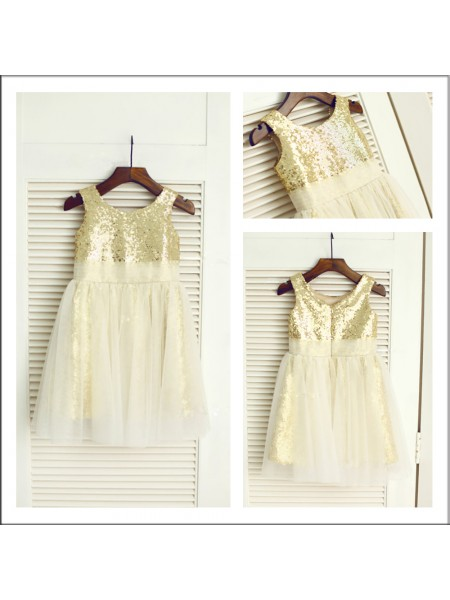 A-Line/Princess Sleeveless Scoop Sequins Tea-Length Sequin Flower Girl Dresses