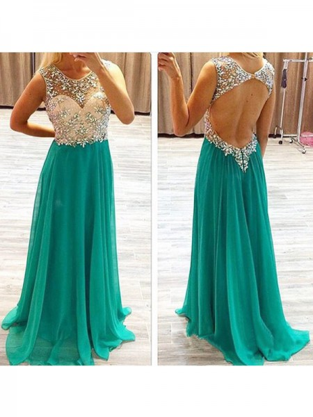 A-Line/Princess Sleeveless Sheer Neck Chiffon Beading Sweep/Brush Train Dresses