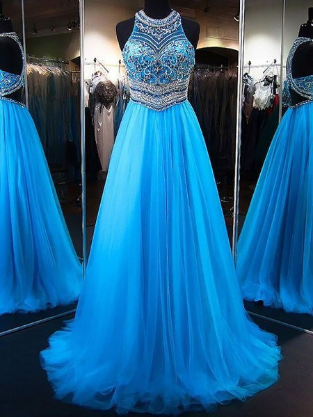 A-Line/Princess Jewel Sleeveless Tulle Beading Sweep/Brush Train Dresses