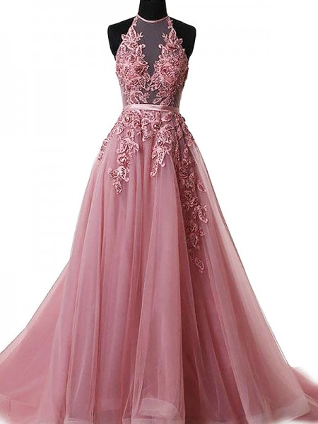 A-Line/Princess Halter Sleeveless Tulle Applique Sweep/Brush Train Dresses