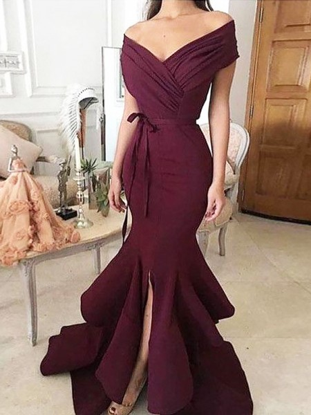 Trumpet/Mermaid Off-the-Shoulder Sleeveless Satin Ruched Floor-Length Dresses