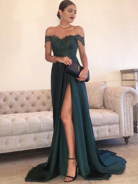A-Line/Princess Off-the-Shoulder Sleeveless Satin Sweep/Brush Train Dresses