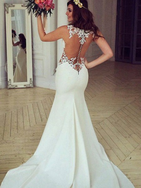 Trumpet/Mermaid Sleeveless Sweep/Brush Train Scoop Applique Lace Wedding Dresses