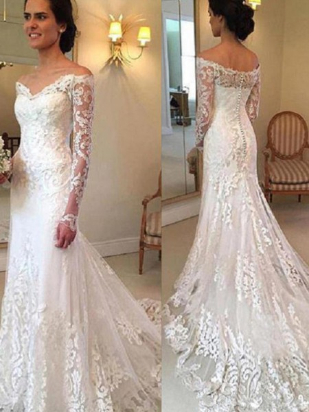 Trumpet/Mermaid Long Sleeves Court Train Off-the-Shoulder Applique Lace Wedding Dresses