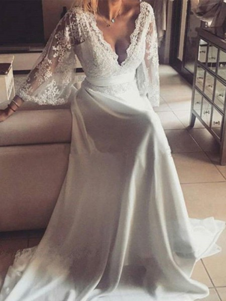 A-Line/Princess Long Sleeves Court Train V-neck Sash/Ribbon/Belt Lace Wedding Dresses