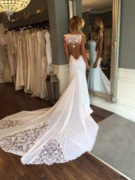 Trumpet/Mermaid Sleeveless Cathedral Train Sweetheart Applique Lace Wedding Dresses