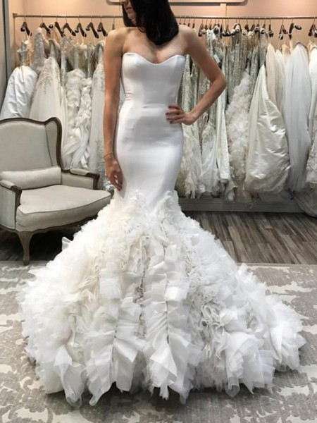 Trumpet/Mermaid Sleeveless Court Train Sweetheart Organza Wedding Dresses
