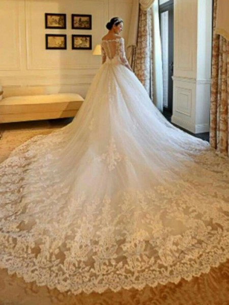 Ball Gown 3/4 Sleeves Cathedral Train Off-the-Shoulder Beading Tulle Wedding Dresses