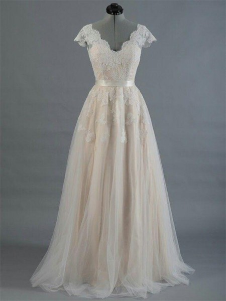 A-Line/Princess Sleeveless Floor-Length V-neck Applique Lace Wedding Dresses