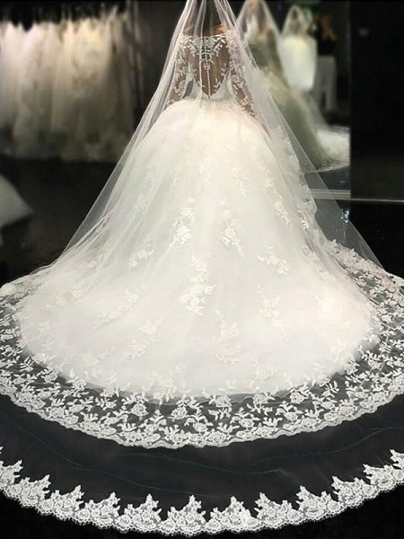 Ball Gown Long Sleeves Cathedral Train Scoop Tulle Wedding Dresses
