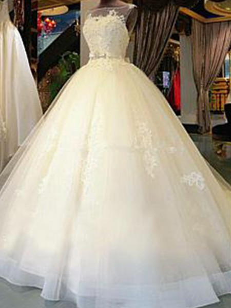 Ball Gown Sleeveless Cathedral Train Scoop Applique Tulle Wedding Dresses