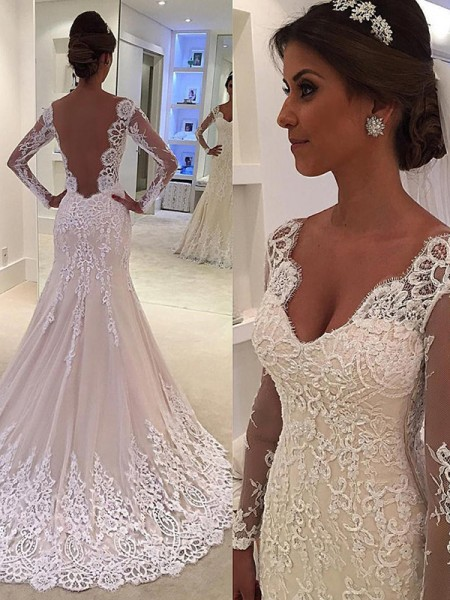 Trumpet/Mermaid Long Sleeves Court Train V-neck Lace Wedding Dresses