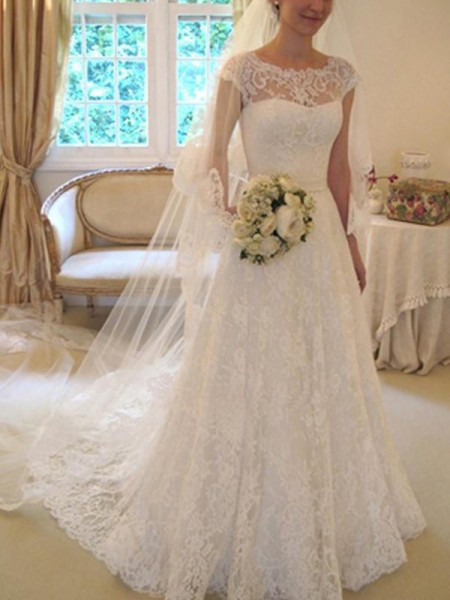 A-Line/Princess Short Sleeves Court Train Square Applique Lace Wedding Dresses