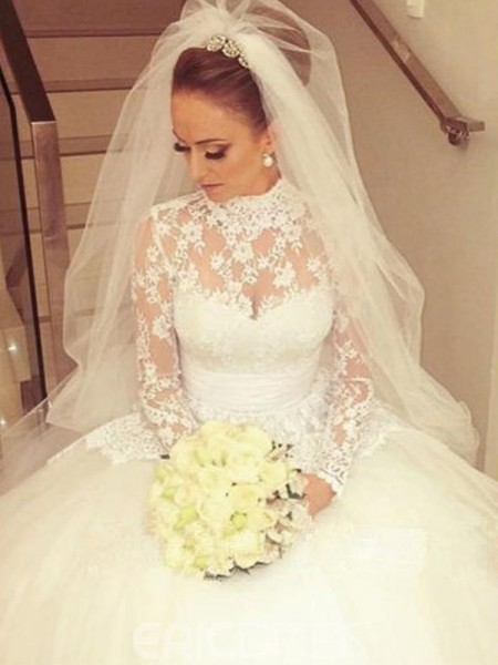 Ball Gown Long Sleeves Cathedral Train High Neck Lace Wedding Dresses