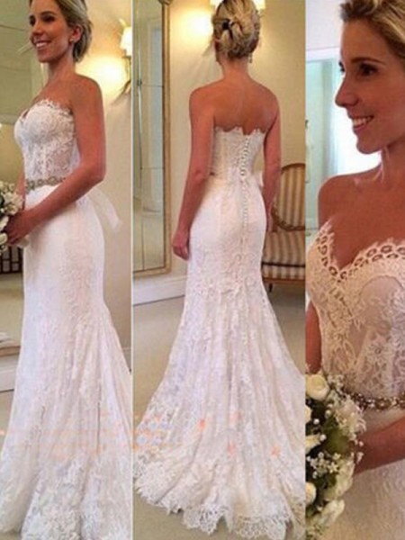 Trumpet/Mermaid Sleeveless Sweep/Brush Train Sweetheart Applique Lace Wedding Dresses