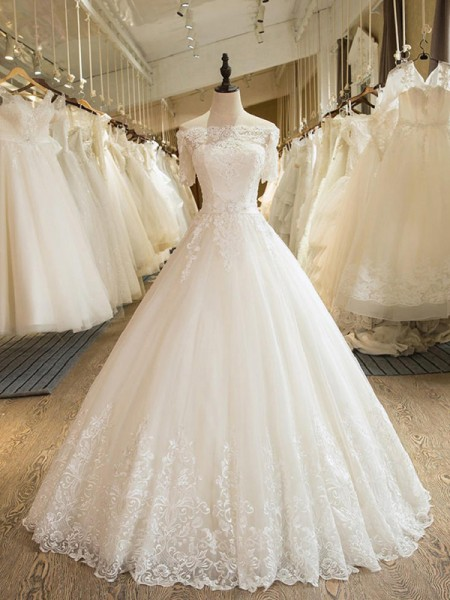 Ball Gown 1/2 Sleeves Floor-Length Off-the-Shoulder Applique Tulle Wedding Dresses