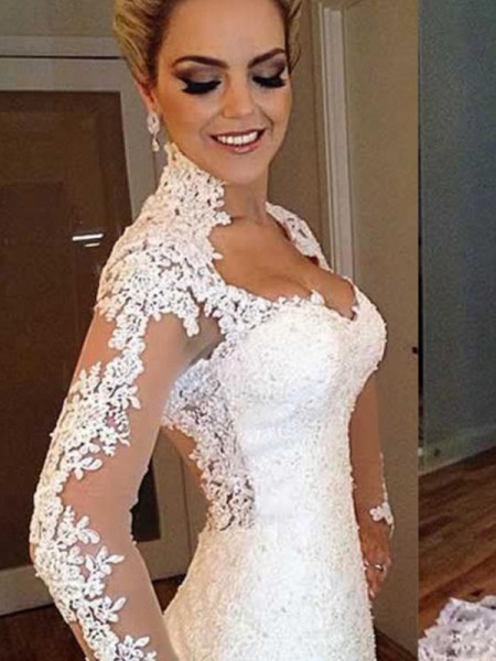 Trumpet/Mermaid Long Sleeves Sweep/Brush Train V-neck Applique Lace Wedding Dresses