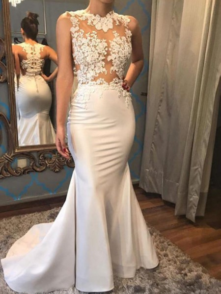 Trumpet/Mermaid Sleeveless Court Train Scoop Applique Satin Wedding Dresses