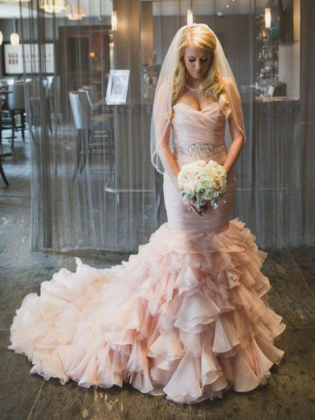 Trumpet/Mermaid Sleeveless Court Train Sweetheart Ruffles Organza Wedding Dresses