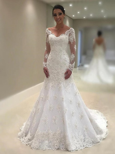 Trumpet-Mermaid Long Sleeves Court Train V-neck Applique Lace Wedding Dresses