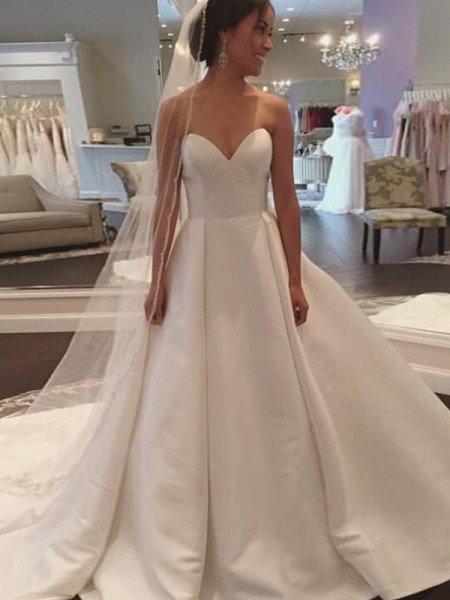 Ball Gown Sleeveless Court Train Sweetheart Satin Wedding Dresses