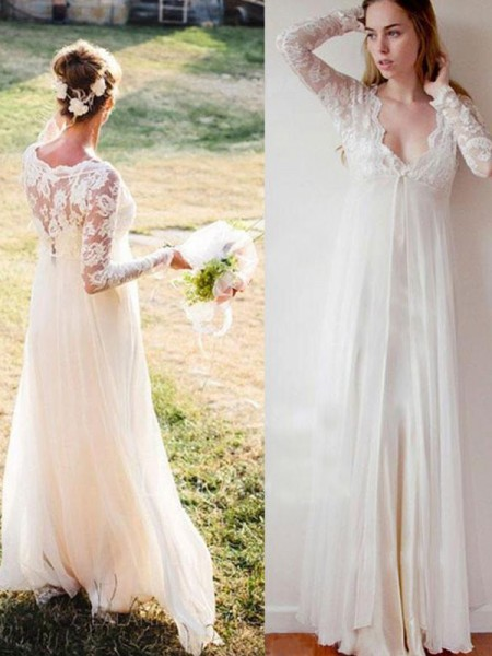 Empire Long Sleeves Floor-Length V-neck Chiffon Wedding Dresses