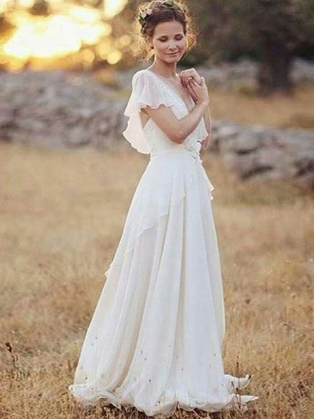 A-Line/Princess Short Sleeves Floor-Length V-neck Ruched Chiffon Wedding Dresses