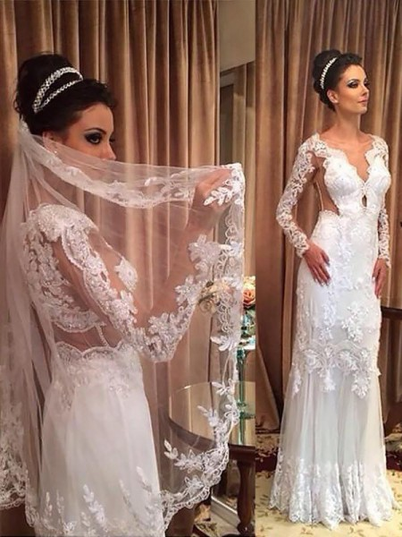 Sheath/Column Long Sleeves Sweep/Brush Train V-neck Applique Tulle Wedding Dresses