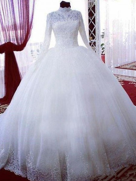 Ball Gown Long Sleeves Chapel Train High Neck Tulle Wedding Dresses