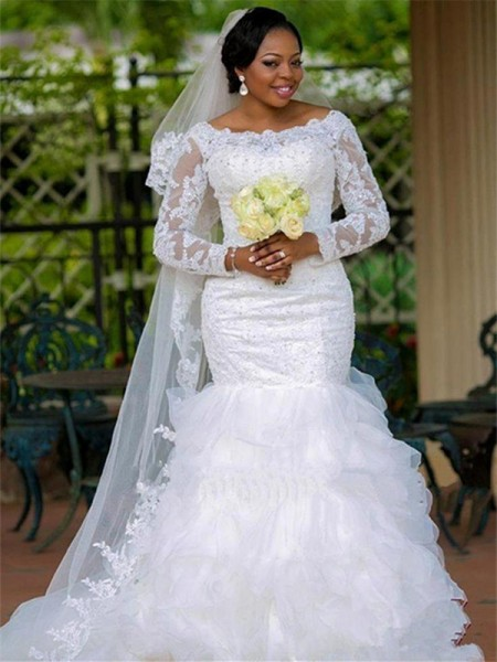 Ball Gown Long Sleeves Chapel Train Scoop Applique Tulle Wedding Dresses