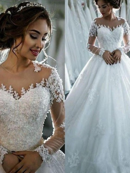 Ball Gown 3/4 Sleeves Court Train Bateau Beading Tulle Wedding Dresses