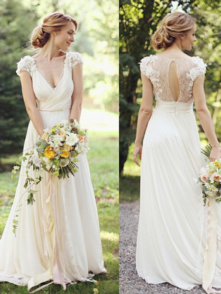 A-Line/Princess Short Sleeves Sweep/Brush Train V-neck Ruched Chiffon Wedding Dresses