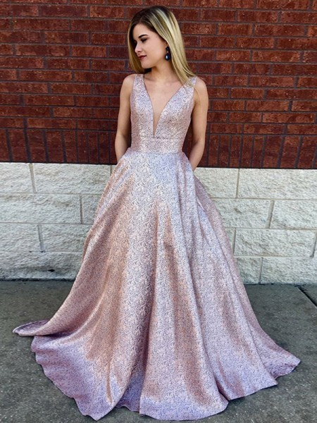 A-Line/Princess Sleeveless Sequin Lace V-neck Sweep/Brush Train Dresses