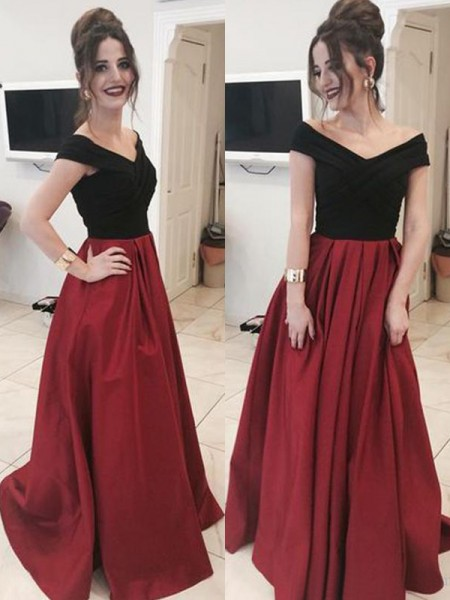 A-Line/Princess Sleeveless Ruffles Satin Off-the-Shoulder Sweep/Brush Train Dresses