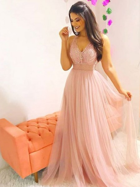 A-Line/Princess Sleeveless Crystal Tulle V-neck Sweep/Brush Train Dresses