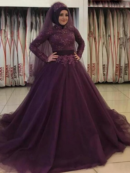 Ball Gown Long Sleeves Applique Tulle High Neck Sweep/Brush Train Dresses