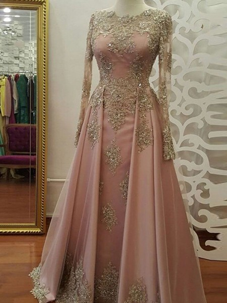 A-Line/Princess Long Sleeves Applique Tulle Scoop Floor-Length Dresses