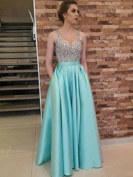 A-Line/Princess Sleeveless Beading Satin V-neck Floor-Length Dresses