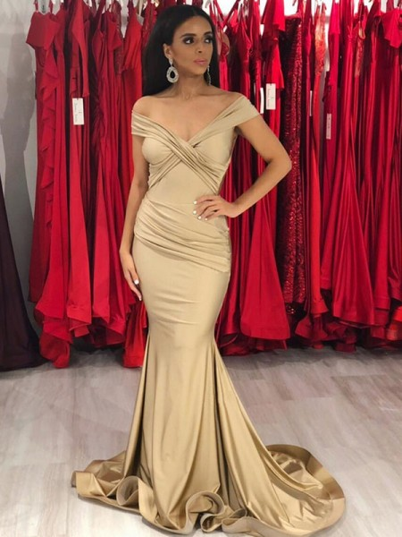 Trumpet/Mermaid Sleeveless Ruffles Spandex Off-the-Shoulder Sweep/Brush Train Dresses